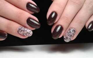 Маникюр шоколадного цвета с рисунками: маникюр, фото дизайна ногтей