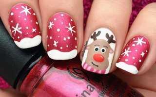 Восхитительные новогодние ногти с оленем: маникюр, фото дизайна ногтей