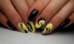 Маникюр желтый с черным: маникюр, фото дизайна ногтей