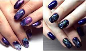 Фиолетовая галактика на коротких ногтях: маникюр, фото дизайна ногтей