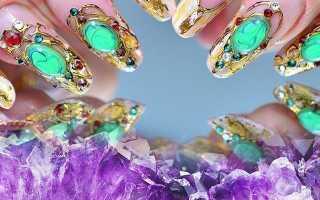 Жидкие камни на длинных ногтях с френчем: маникюр, фото дизайна ногтей