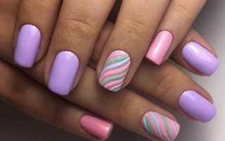 Великолепные цветы лилового цвета на длинных ногтях: маникюр, фото дизайна ногтей