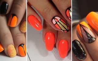 Оранжевый маникюр с полосками: маникюр, фото дизайна ногтей