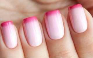 Арт-френч розового цвета с блестками: маникюр, фото дизайна ногтей