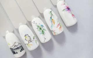 Акварельная роспись и стразы в розовом маникюре: маникюр, фото дизайна ногтей