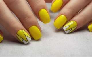 Желтый маникюр счерным: маникюр, фото дизайна ногтей