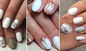 Голубой маникюр с белым и блестками: маникюр, фото дизайна ногтей