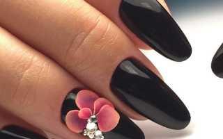 Цветы из лепки и блестками: маникюр, фото дизайна ногтей