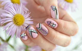 """Маникюр с ручной росписью в стиле """"Бохо"""": маникюр, фото дизайна ногтей"""