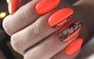 Оранжевый маникюр с яркой росписью: маникюр, фото дизайна ногтей