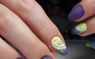 Фиолетовый с желтым: розы в маникюре и педикюре: маникюр, фото дизайна ногтей