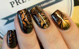 Маникюр стемпингом: фото стемпинга для ногтей, идеи маникюра с гель-лаком и шеллаком