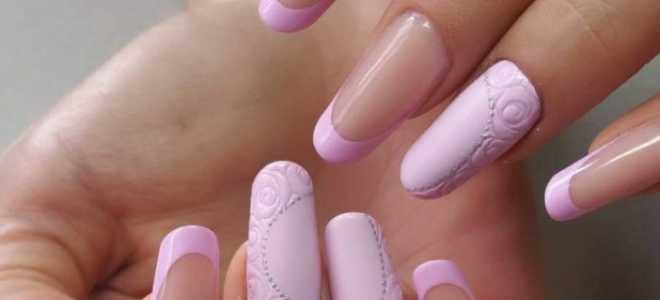 Зеленый френч с литьем на длинные ногти: маникюр, фото дизайна ногтей