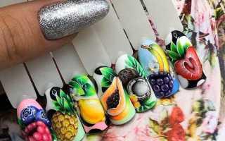 Вкусный сочные фрукты с мятным гель-лаком: маникюр, фото дизайна ногтей