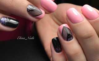Маникюр металлик черный с розовым: маникюр, фото дизайна ногтей