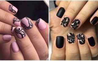 Матовый чёрный с кружевом: маникюр, фото дизайна ногтей