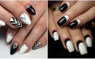 Черный, белый маникюр: маникюр, фото дизайна ногтей