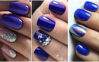 Голубые цветы в синем маникюре на длинные ногти: маникюр, фото дизайна ногтей