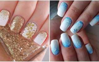Великолепный синий маникюр со снегом: маникюр, фото дизайна ногтей
