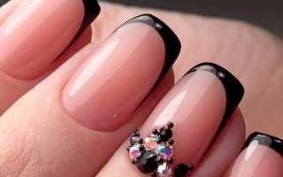Черный угловой френч для стильных ногтей: маникюр, фото дизайна ногтей
