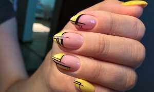 Маникюр с рисунком желтый френч: маникюр, фото дизайна ногтей