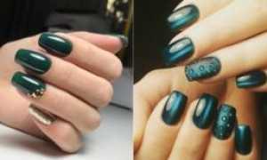 Темно зеленый маникюр с веточками: маникюр, фото дизайна ногтей