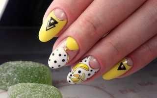 Горошки в желтом маникюре с френчем: маникюр, фото дизайна ногтей