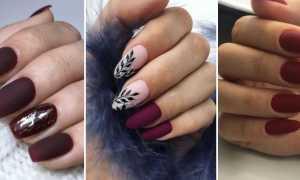 Матовый бордовый с глянцевым френчем: маникюр, фото дизайна ногтей