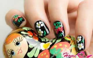 """Маникюр на короткие ногти под """"хохлому"""": маникюр, фото дизайна ногтей"""