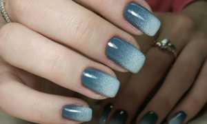 Сине-голубой омбре с блестками: маникюр, фото дизайна ногтей