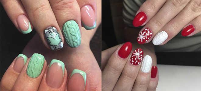 Вязаный рисунок на ногтях средней длины: маникюр, фото дизайна ногтей