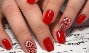Вишневый маникюр на средние ногти: маникюр, фото дизайна ногтей