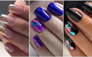 Маникюр с фольгой: фото дизайна ногтей на гель-лак, шеллак и идеи маникюра