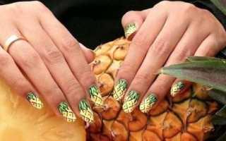Маникюр с фламинго и ананасом: маникюр, фото дизайна ногтей