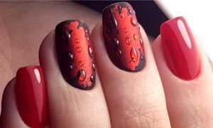 Красный шеллак с капельками росы: маникюр, фото дизайна ногтей