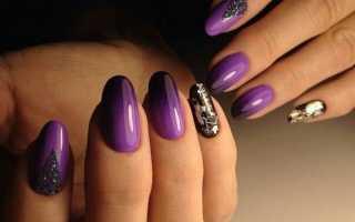 Ежевика, омбре и битое стекло: маникюр, фото дизайна ногтей