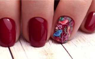 Изумительные вишневые ногти с красным камушком: маникюр, фото дизайна ногтей