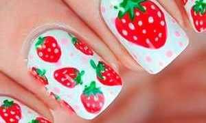 Красный маникюр с клубничкой: маникюр, фото дизайна ногтей