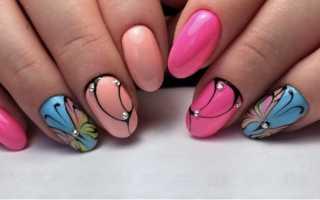 Выпуклый разноцветный цветок: маникюр, фото дизайна ногтей