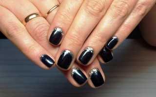 Благородное серебро в черном маникюре: маникюр, фото дизайна ногтей