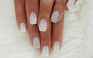 Диагональный орнамент с блестками в свадебном маникюре: маникюр, фото дизайна ногтей