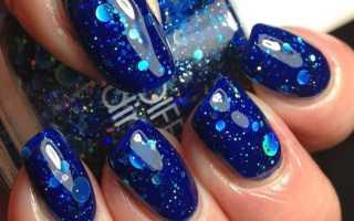 Игра синего цвета в маникюре на длинные ногти: маникюр, фото дизайна ногтей