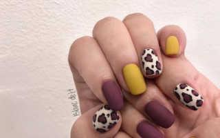 Маникюр френч с леопардовым принтом: маникюр, фото дизайна ногтей