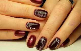 Маникюр цвета марсала со стразами: маникюр, фото дизайна ногтей