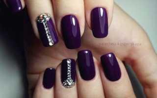 Алый маникюр с фиолетовым узором: маникюр, фото дизайна ногтей