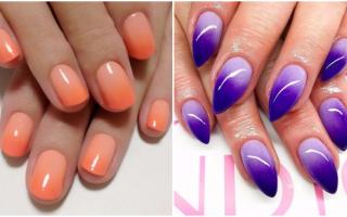 Яркое омбре оранжевого цвета: маникюр, фото дизайна ногтей