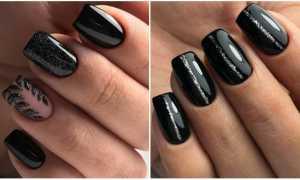 Иссиня-черный цвет: маникюр, фото дизайна ногтей