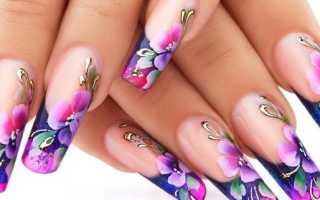 Воздушные цветы на ногтях с френчем: маникюр, фото дизайна ногтей