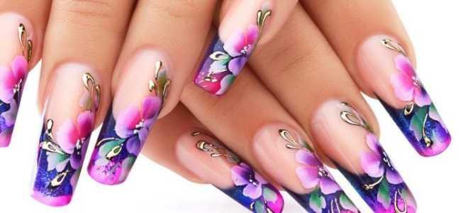 Милый цветок с френчем: маникюр, фото дизайна ногтей