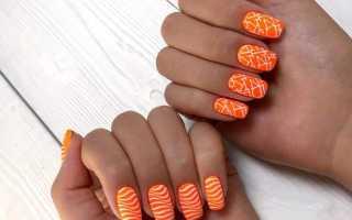 Зеленый оранжевый яркий маникюр: маникюр, фото дизайна ногтей